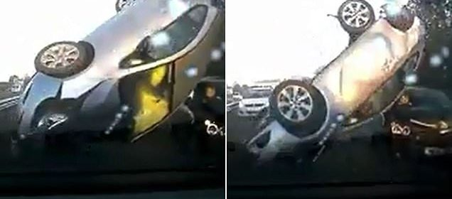 Terrifying moment driver hits two vehicles during 20-car pile-up